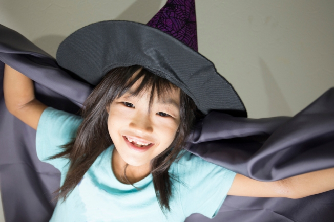 Little girl dressed up for Halloween